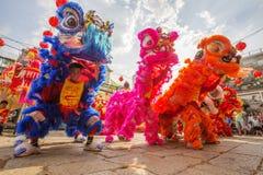 在使人开眼界的仪式, Thien Hau夫人塔,越南的南狮舞蹈 免版税库存照片