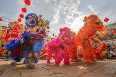 在使人开眼界的仪式, Thien Hau夫人塔,越南的南狮舞蹈 免版税库存图片