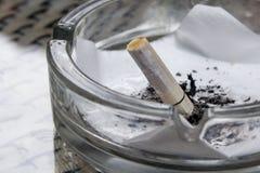 在使用它的人抽了它后,关闭在烟头,被击碎和湿,在烟灰缸 免版税库存照片