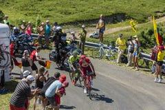 在侏罗山的争斗-环法自行车赛2016年 免版税图库摄影