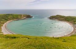 在侏罗纪海岸,多西特,英国的Lulworth小海湾 免版税图库摄影