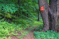 `在供徒步旅行的小道的没有车手`警报信号 免版税库存图片