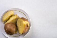 在供食的煮熟的土豆上的平的位置在白色大理石背景上 免版税图库摄影