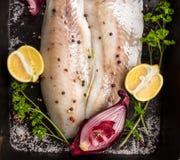 在依托盘子的未加工的赞德鱼片用柠檬、草本和红洋葱 图库摄影