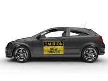 在侧视图的新的司机标志 免版税库存图片