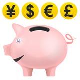 在侧视图的猪treassure与货币铸造传染媒介 免版税库存照片