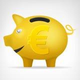 在侧视图的金黄猪treassure与欧洲标志传染媒介 免版税库存照片