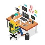 在便携式计算机上的专业程序设计者运作的文字代码在书桌 程序员开发商工作场所 平的3d等量technol 向量例证