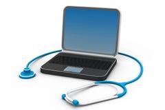 在便携式计算机上的医疗听诊器 免版税库存图片