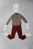 在便衣的手拉的滑稽的字符 免版税图库摄影