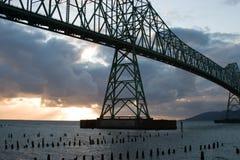 在俄勒冈和华盛顿之间的Astoria-Megler桥梁专栏的 免版税库存照片