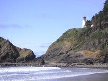 在俄勒冈海岸的白色灯塔 免版税库存图片