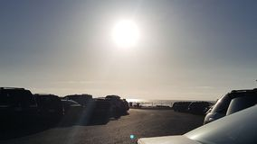在俄勒冈海滩的下午7点太阳 图库摄影
