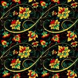 在俄国传统样式的花卉无缝的样式 库存图片