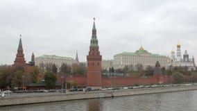 在俄国克里姆林宫墙壁,塔,历史建筑上的看法在莫斯科 影视素材