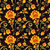 在俄国样式khokhloma的花卉无缝的样式 库存照片