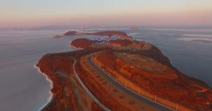在俄国海岛上的海边Oceanarium落日的平衡的光的 影视素材