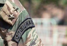 在俄国特种部队的袖子制服的雪佛 免版税库存图片