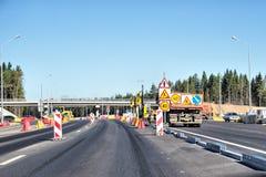 在俄国联邦高速公路A-181斯堪的那维亚的重建的建筑工作 图库摄影
