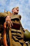 在俄国苏联一致的第二次世界大战的军事再enactor 俄国战士 库存图片