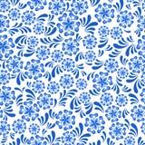 在俄国gzel样式的无缝的蓝色花卉样式 免版税库存图片