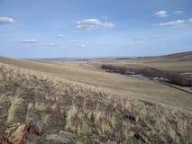 在俄罗斯和哈萨克斯坦边界的干草原  图库摄影