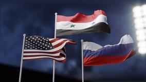 在俄罗斯和美国之间的交锋在叙利亚 概念 三面挥动的旗子 3d例证 皇族释放例证