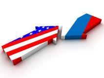 在俄罗斯和美国之间的交锋 免版税库存照片