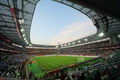 在俄罗斯国家队和象牙海岸之间的足球比赛 免版税库存照片