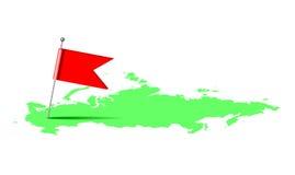 在俄罗斯的地图的红旗 免版税库存照片