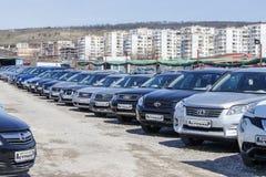 在保加利亚人汽车展示会保加利亚瓦尔纳11的低廉汽车 03 2018年 库存图片