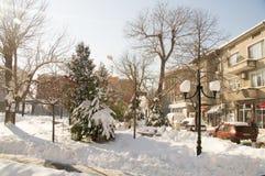 在保加利亚语波摩莱的中心,冬天2017年 库存图片