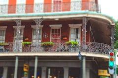 在保守主义者街上的古老房子 法国新奥尔良季度 免版税库存图片