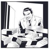 在保险柜附近的人有金钱的 背景明亮的例证桔子股票 库存例证