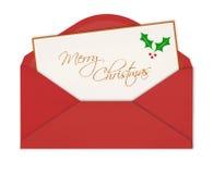 在信封的圣诞卡 免版税库存图片