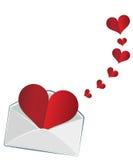 在信封的心脏 库存照片