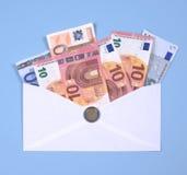 在信封的欧洲笔记 免版税库存图片
