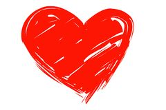 在信封的红色心脏,例证,传染媒介 免版税库存照片