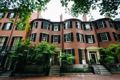 在信标岗,波士顿,马萨诸塞的历史的砖瓦房 图库摄影