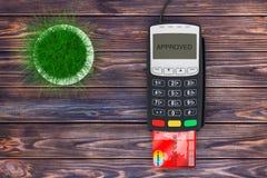 在信用卡支付终端附近的绿草罐 3d翻译 向量例证