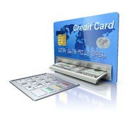 在信用卡的现钞机 库存图片