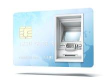 在信用卡的Atm机器 图库摄影