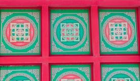 在修道院天花板的西藏坛场绘画 库存照片