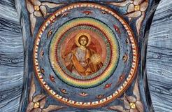 在修道院的墙壁上的壁画 库存图片