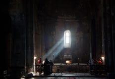 在修道院的早晨服务 库存照片