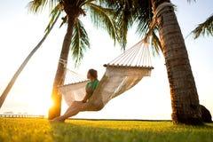 在俯视山的热带棕榈树的吊床 库存图片