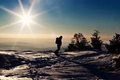 在倾斜的人滑雪 库存照片