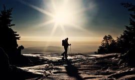 在倾斜的人滑雪 免版税图库摄影