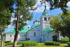 在假定的教会的夏日在假定修道院里在亚历克萨尼昂,俄罗斯 免版税库存图片