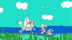 在假期动画片动画的家庭旅行 影视素材